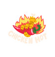 chicken hot spicy fire dish creative logo design vector image vector image