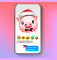 christmas emoji pig in santas hat holiday smile vector image