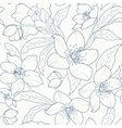 Christmas rose hellebore flowers pattern dark blue vector image vector image