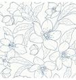 Christmas rose hellebore flowers pattern dark blue vector image vector image