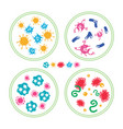 colorful bacteries in petri dish vector image vector image