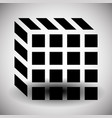 contour of cube symbol isolated on white vector image