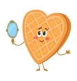 Cute and funny waffke wafer character looking vector image vector image