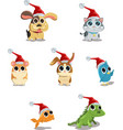 cute animals wearing santa hat vector image