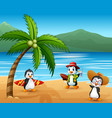 cute cartoon penguins in summer holiday vector image vector image