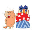 cute cat and gifts cartoon vector image vector image