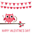 cute owl valentine card vector image vector image