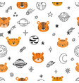 cute space seamless pattern with cartoon tigers vector image