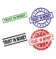 damaged textured trust in money seal stamps vector image