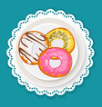 delicious sweet donuts in glaze on plate with wavy vector image vector image
