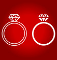 diamond ring line and glyph icon vector image vector image