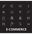 e-commerce editable line icons set on black vector image vector image