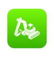 excavator icon green vector image