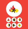 flat icon emergency set of fire exit direction vector image vector image