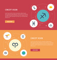 flat icons crab goat space and other vector image vector image