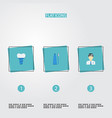 flat icons implantation orthodontist toothbrush vector image