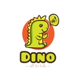 funny cartoon dino logo Baby dinosaur vector image