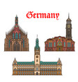 german travel landmarks icon of church city hall vector image vector image