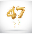 golden number 47 forty seven metallic balloon vector image vector image