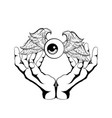 hand drawn human eye with wings vector image