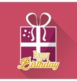 Happy birthday gift box ribbon pink background