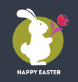 happy easter greeting card white bunny and tulip vector image vector image