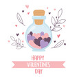 happy valentines day jar glass with hearts love vector image