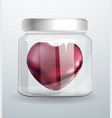 heart inside a glass jar realistic 3d metallic vector image