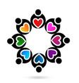 heart teamwork people icon vector image
