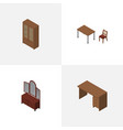 isometric furnishing set of table cabinet drawer vector image vector image