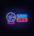 keno lottery neon sign design template vector image vector image
