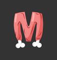 letter m meat font pork and bone alphabet sign vector image vector image