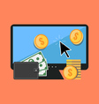 Making money online concept Flat design stylish vector image