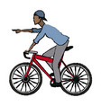 man pointing riding bicycle transport vector image vector image