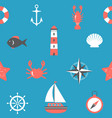 marine seamless pattern nautical background sea vector image