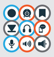 media icons set with record cellphone web cam vector image vector image