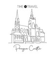 one single line drawing prague castle landmark vector image vector image