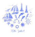 paper nautical background with sailing vessels vector image