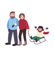 parents drawing sled with their son mother vector image