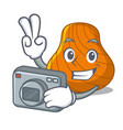 photographer hard shell mascot cartoon vector image vector image