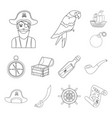 pirate sea robber outline icons in set collection vector image vector image