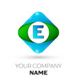 realistic letter e logo in colorful rhombus vector image vector image