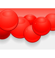 Red glossy 3D spheres landscape background vector image vector image