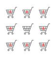 set black thin line shopping cart logo vector image