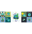 set for earth day happy boy hugging planet vector image vector image
