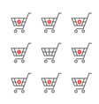 set of black thin line shopping cart logo vector image vector image