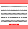 set seamless chain link different chains vector image vector image
