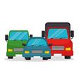 set vehicles transport icons design vector image
