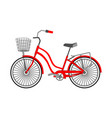 single bicycle with a front wicker basket vector image