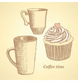 Sketch coffee set in vintage style vector image vector image